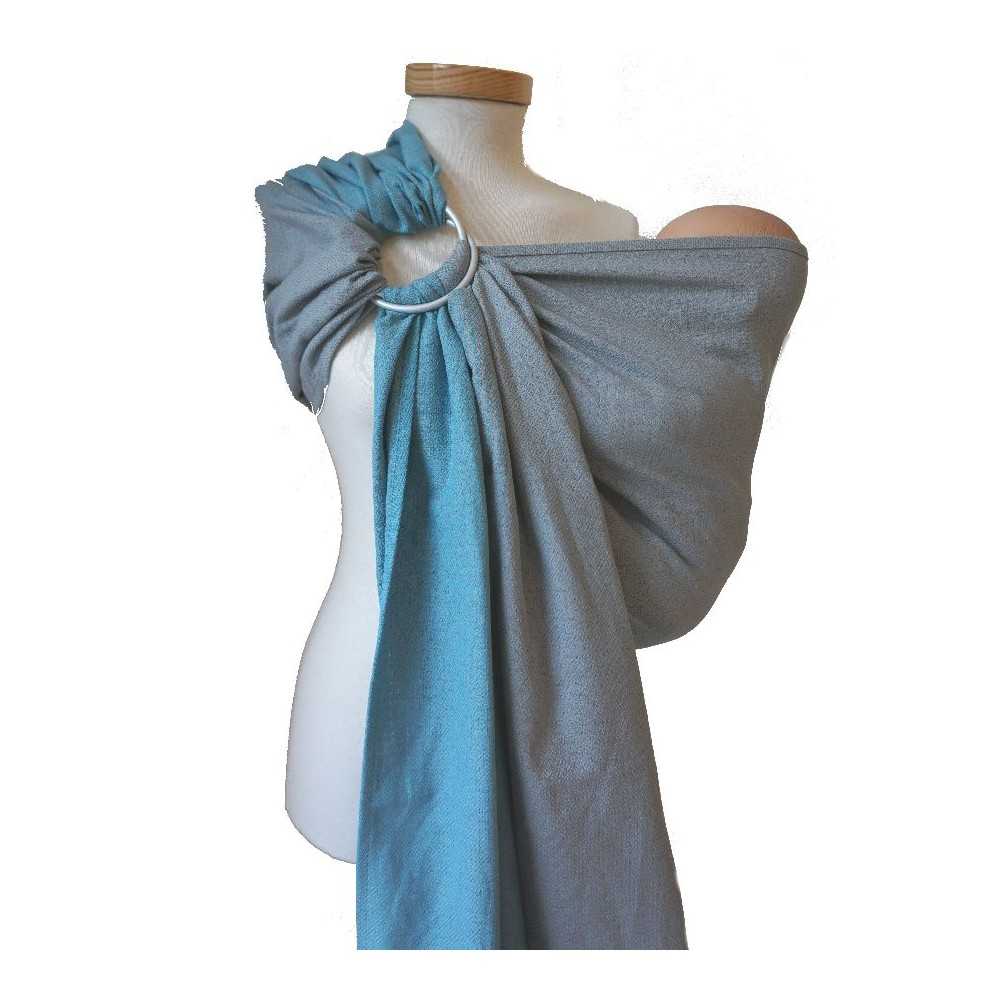 Storchenwiege Ring Sling Leo Duo Turquoise Grey